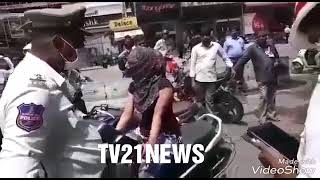 Abids Traffic Police & Bike Rider Lady Between Panic On Road.Traffic Sub Inspector Bike Tak thumbnail