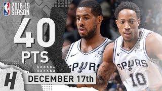 DeMar DeRozan & LaMarcus Aldridge COMBINED Highlights Spurs vs 76ers 2018.12.17 - 20 Pts Each!