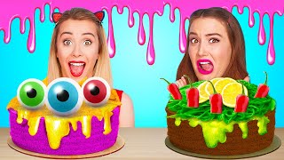 CAKE DECORATING MUKBANG || Spicy VS Sweet VS Sour Food Challenge by 123GO! FOOD