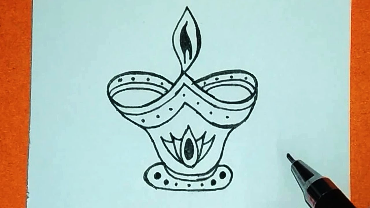 Diwali drawing easy how to draw diya for diwali drawing diya diwali diya