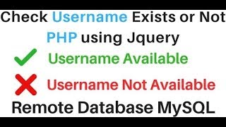 PHP | Check If Username Already Exists In MySQL (phpMyAdmin 4.5.1)