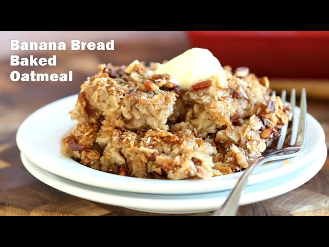 BANANA BREAD BAKED OATMEAL 7 Ingr- No Oil | Vegan Richa Recipes