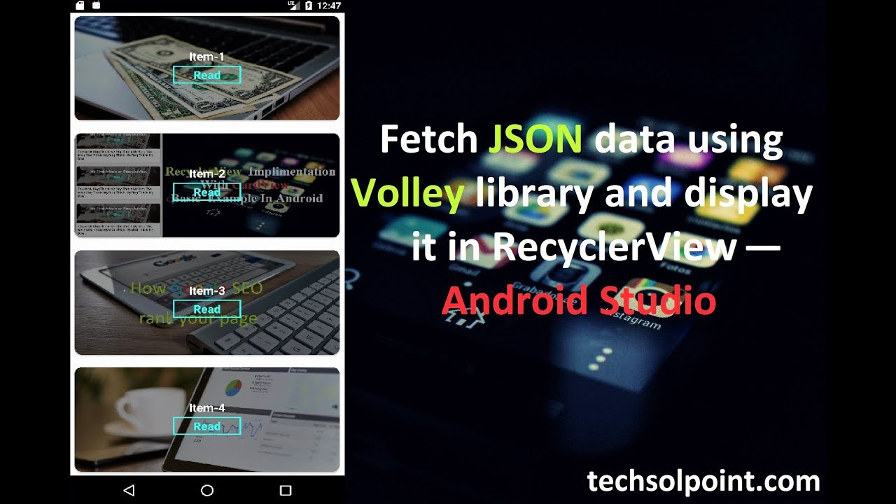 Fetch JSON data using Volley library and display it in