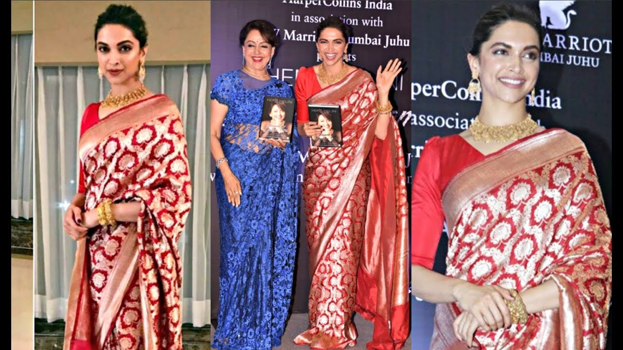 Deepika Padukone Hot In Red Saree At Hema Malini Book ...