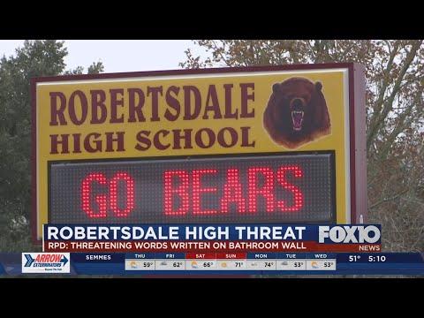 Threatening message on bathroom wall at Robertsdale High School