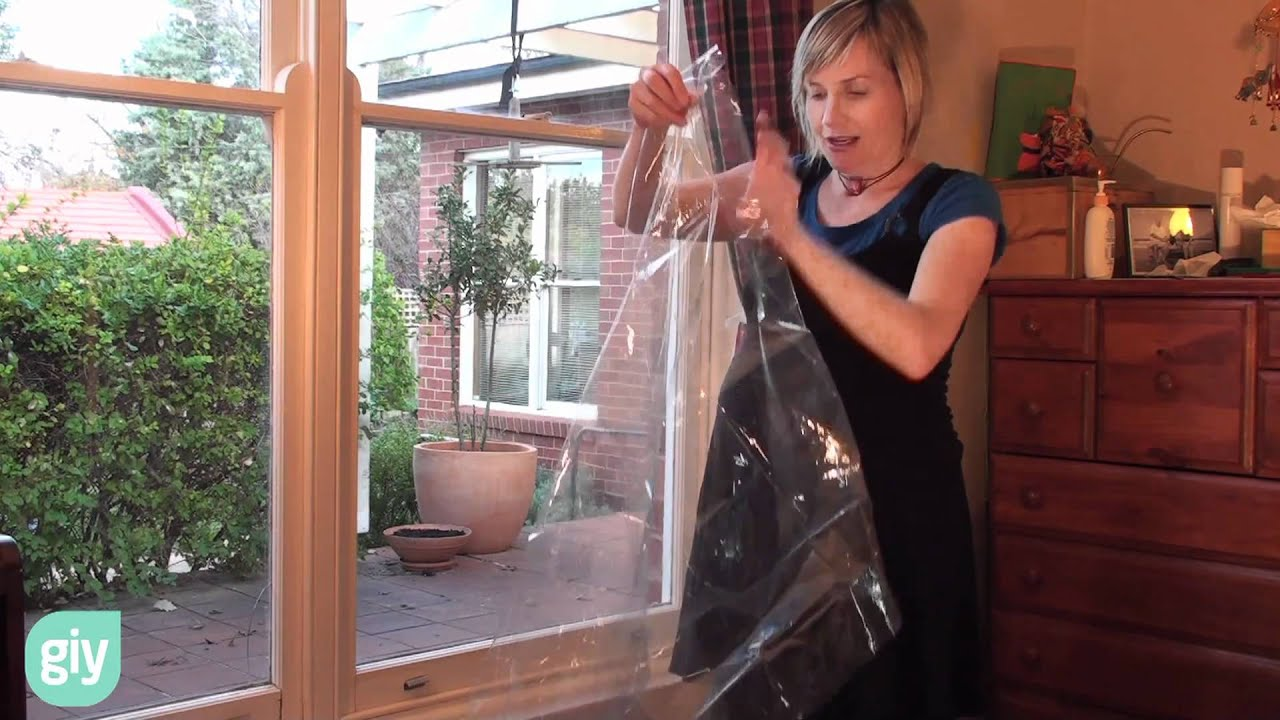 How To Do Simple Double Glazing With Window Insulating Film Youtube - Window Plastic Insulation