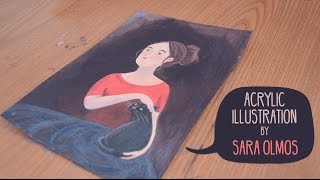 Girl and Cat. Acrylic illustration. Timelapse. Speed painting. Work in progress
