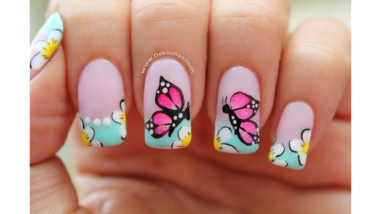 Moda 2017 Uñas Decoradas Con Flores Sencillas Youtube