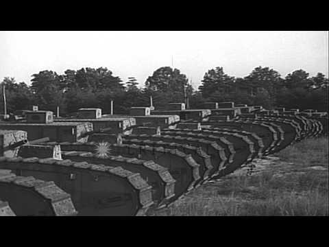 United States tanks parked on a field in Fort George G Meade, Maryland. HD Stock Footage