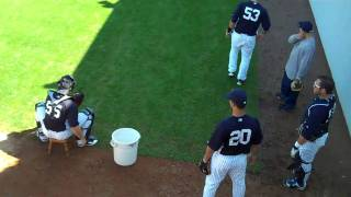 New York Yankees catchers practice catching drills - Spring Training 2011