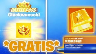 SAISON 9 BATTLE PASS VERSCHENKEN! 😱 (Gratis Battle Pass) Fortnite Saison 9 Fuites