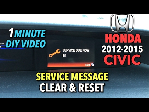 Honda Civic Service Message Reset - 1 Minute DIY Video