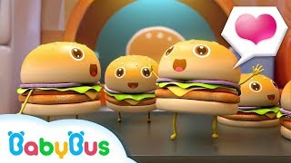 Lima Hamburger Lompat Di Nampan | Lagu Makanan Anak | Lagu Anak-anak | BabyBus Bahasa Indonesia
