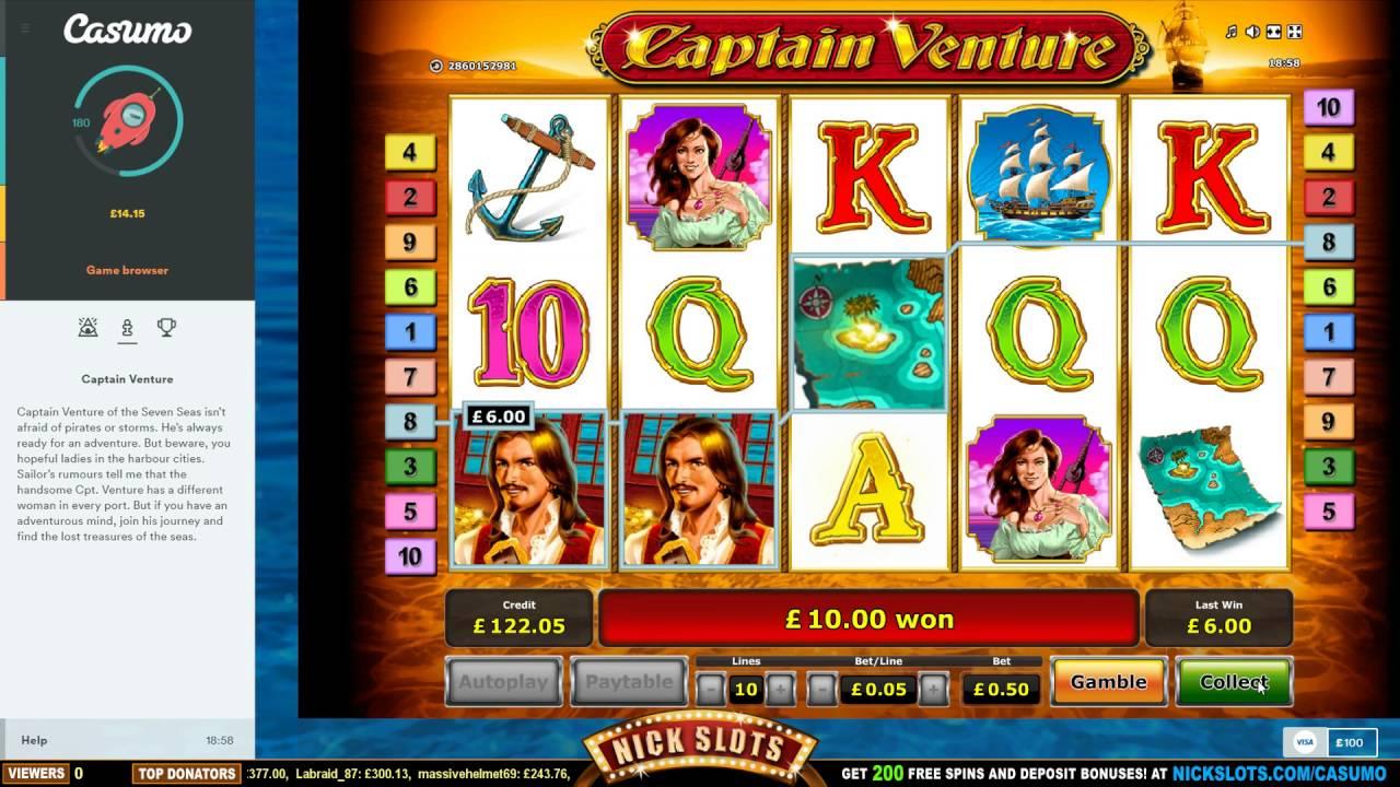 Big Win On Captain Venture Slot 0 50 Bet Youtube
