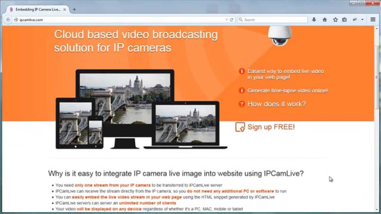 How to embed ip camera live stream into web page youtube for Camera it web tv