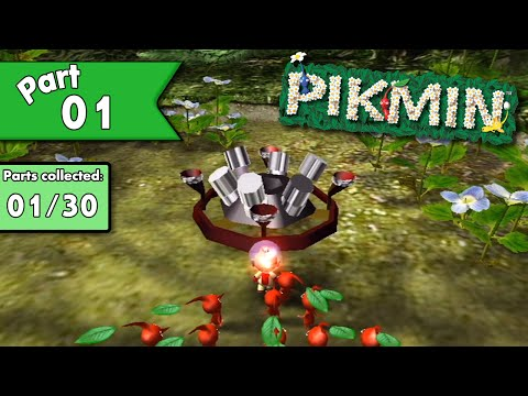 Pikmin 100% walkthrough - Part 1 - Crash Landing!