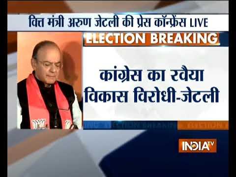 Arun Jaitley addresses press conference over Gujarat Assembly polls