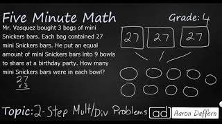 4th Grade Math Two-Step Multiplication and Division Problems