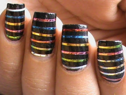Nail Art Designs - Striping tape nail art tutorial for beginners ...