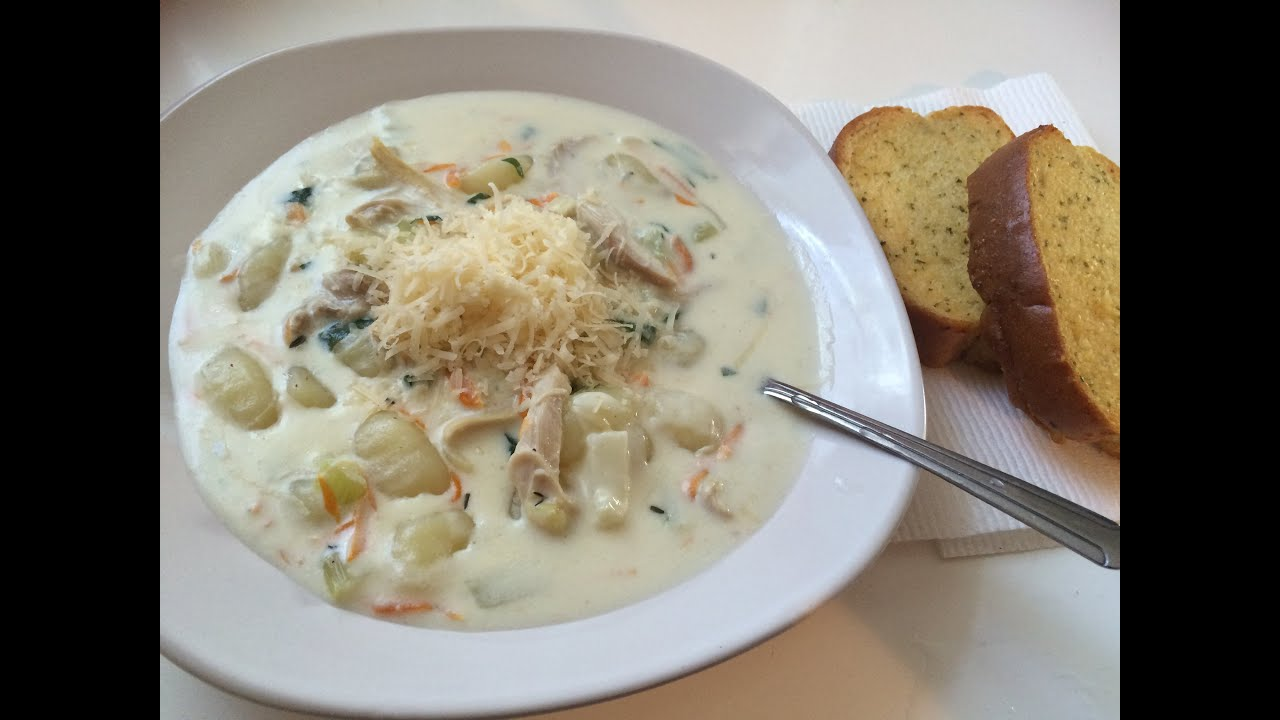 olive gardens chicken gnocchi soup step by step youtube - Olive Garden Gnocchi Soup