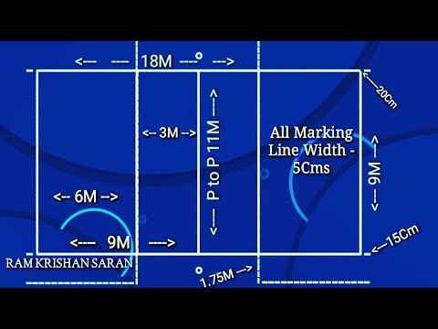 Volleyball Court Marking And Measurements | Volleyball Easy Court Marking With Full Diagonal Method
