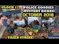 Unboxing 4 Police Car Goodies Mystery Boxes! October 2018
