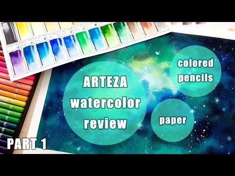 Relaxing Galaxy Background - Arteza watercolors, colored pencils and paper review - part 1
