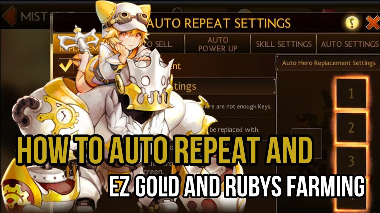 SEVEN KNIGHTS - How to use auto repeat to easy farming gold and ruby