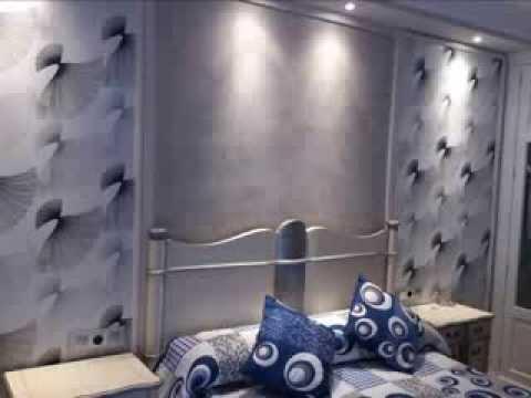 Como decorar un dormitorio en papel pintado y estuco - Como decorar un cuarto pequeno ...