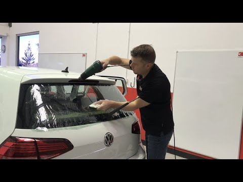 Window Tinting - Start to Finish Window Tinting a Back Window on a Mk7 VW Golf - No Commentary
