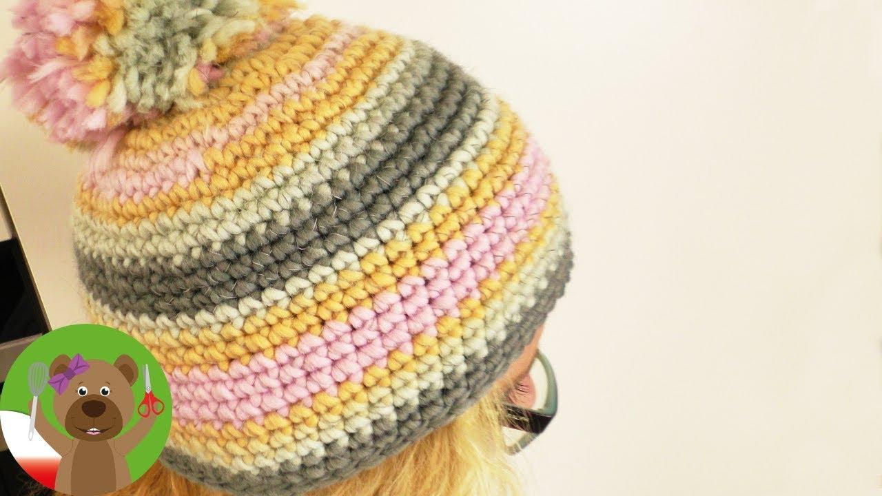 Szydełkowanie | zimowa czapka na szydełku | prosta czapka z pomponem