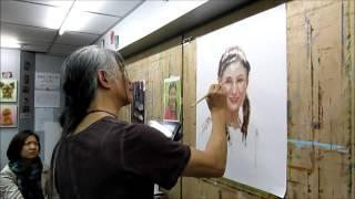 楊志榮老師油畫人像示範 Oil Painting Portrait Demo by Stephen Yeung (3.4.2014) 17min version