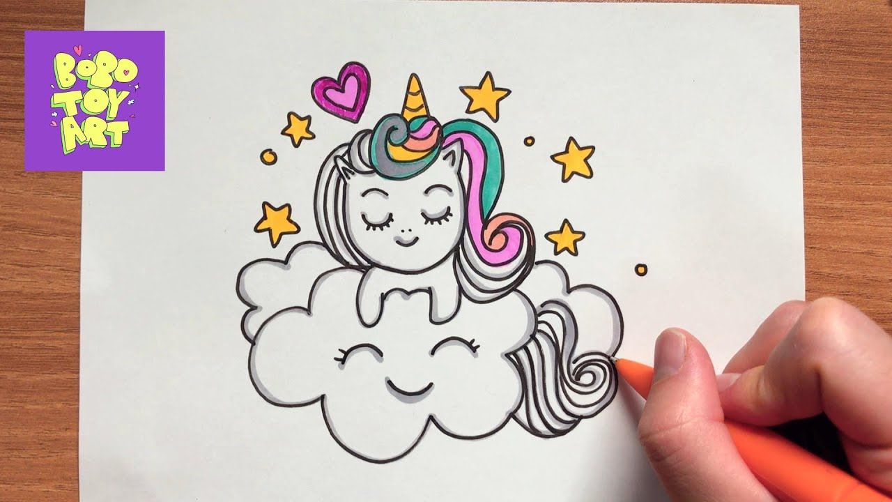 HOW TO DRAW A CLOUD HUGGING UNICORN - SUPER CUTE AND EASY