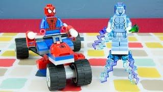 Spiderman Legos Marvel Super Heroes Spider Trike VS Electro Lego Time Lapse