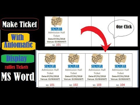 Mail Merge Raffle Tickets MS Word step wise - YouTube - how to make tickets on word
