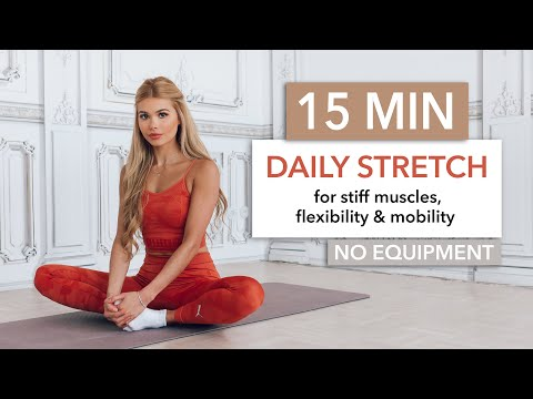 15 MIN DAILY STRETCH - a full body routine for tight muscles, flexibility \u0026 mobility I Pamela Reif