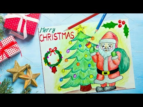 Christmas Scene Drawing.How To Draw Santa Claus Christmas Scene Easily For Kids