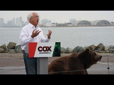Candidate John Cox and Kodiak bear in San Diego