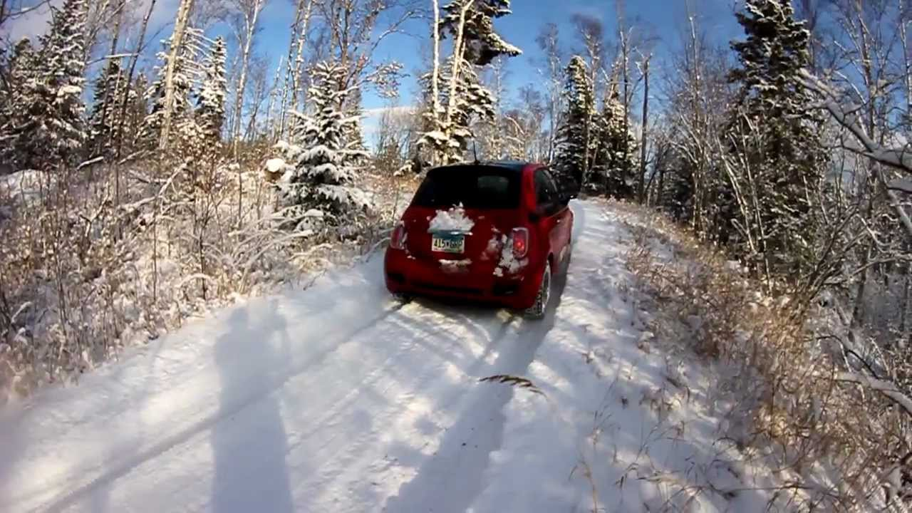 2012 Fiat 500 Driving Out A Steep Icy Drive Way With 7