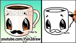 Coffee Cup with MUSTACHE - Easy Cartoon Drawing Tutorial