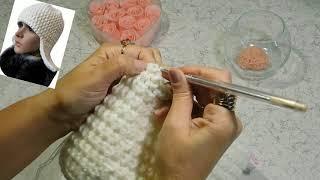 Вяжем шапку - ушанку крючком. Вторая часть: вязание низа ушанки