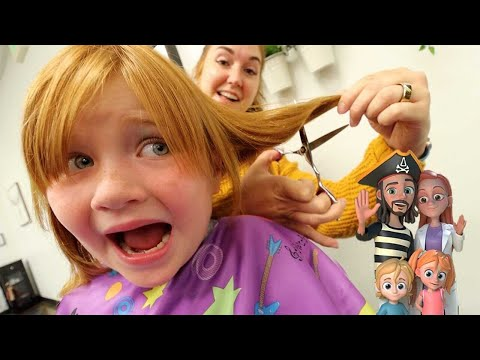 BACK to SCHOOL HAiRCUT!! and Family Cartoon!! shopping with Adley & Niko then Pizza at pirate island
