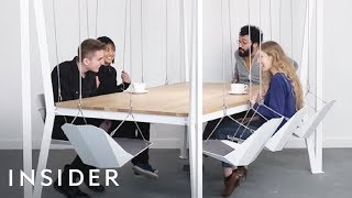 Table Has Swings Instead Of Chairs