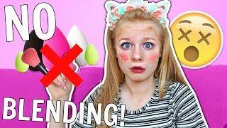 Full Face WITHOUT Blending Makeup Challenge! 😱💄 *omg*