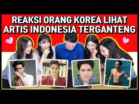 REAKSI CEWEK CANTIK KOREA LIHAT ARTIS INDONESIA TERGANTENG | KOREAN REACTION