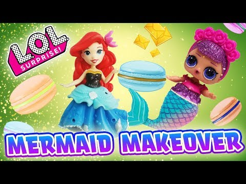LOL Surprise Dolls Spin the Wheel Game, Sugar Queen Mermaid Makeover With Princess Ariel!