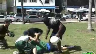 Kimbo slice tackles a guy!!!! Guy gets messed up!!!!
