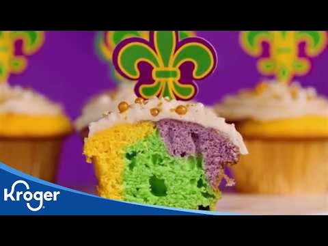 Mardi Gras Cupcakes With Bourbon Icing Recipe VIDEO Kroger