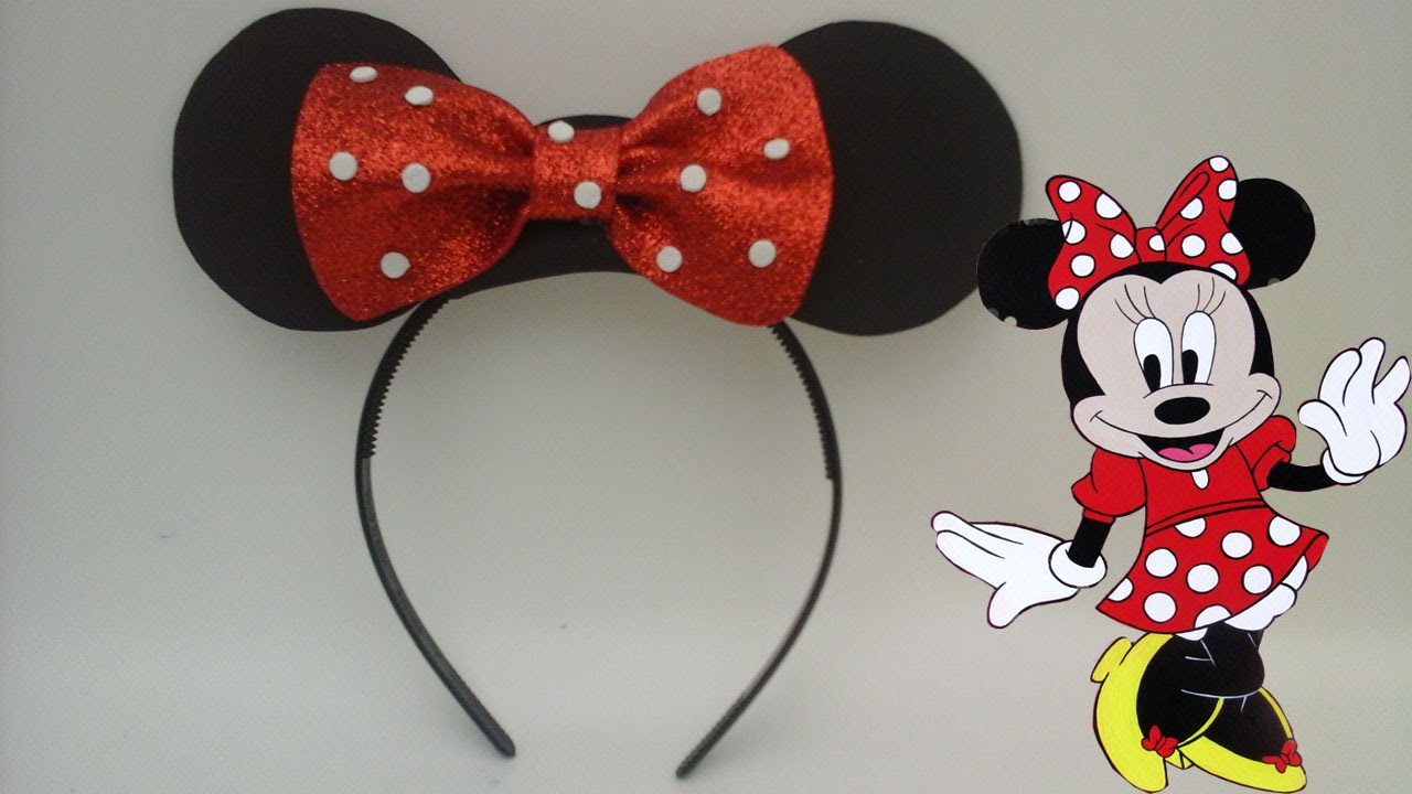 Diadema de minnie mouse para recuerdo en fiestas de niñas - YouTube