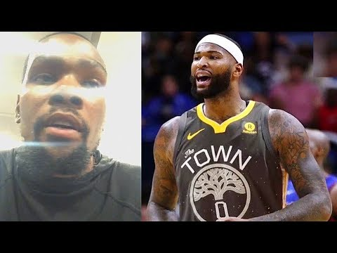 14dfb4ae0b7f Kevin Durant Reacts To DeMarcus Cousins Joining Warriors After Almost  Fighting Him!